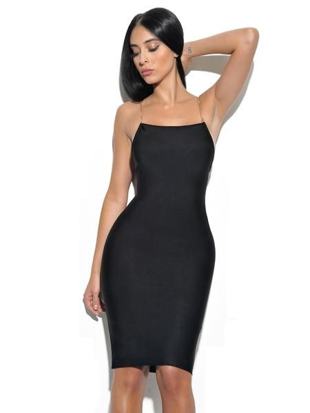 3c0d87de4878 Yolanda Backless Gold Chain Strap Black Bandage Dress | Bandage ...