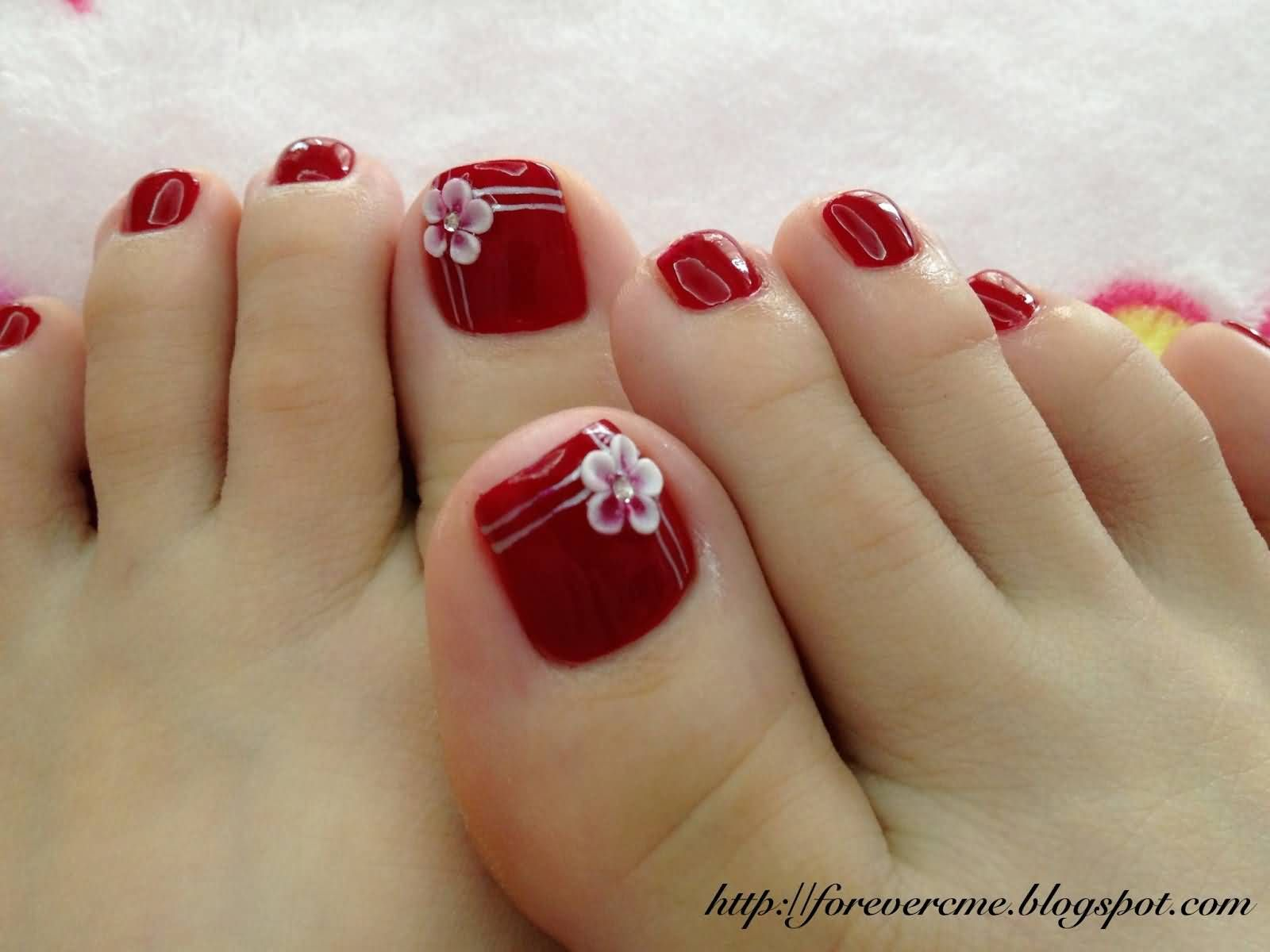 Beautiful Red Toe Nails With White 3d Flower Nail Art Pedicure