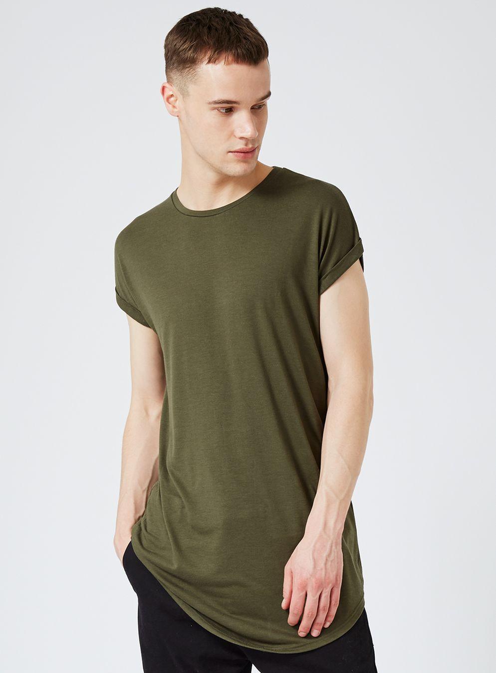 acd2fb22f Khaki Drop Shoulder Longline Fit T-Shirt | t-shirts | T shirt ...