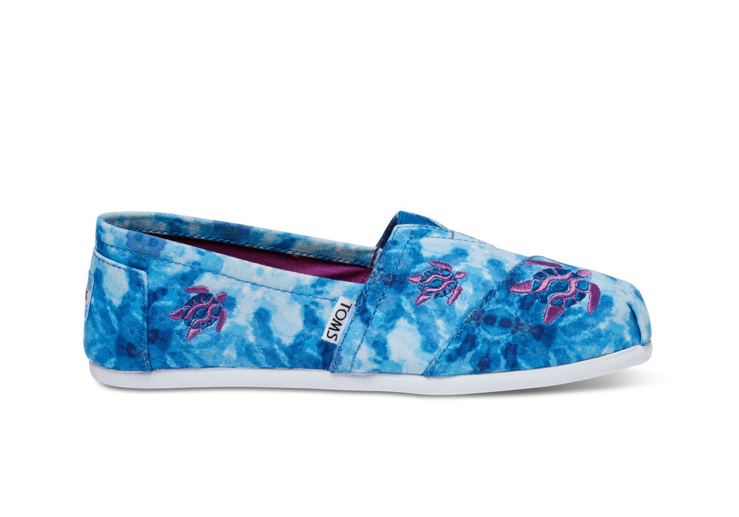 Turtle Hawaii Blue Foral Women Casual Shoes Boat Slip Spring Simple