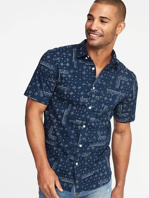 c9ef4f339a Old Navy Slim-Fit Built-In Flex Printed Everyday Shirt for Men ...