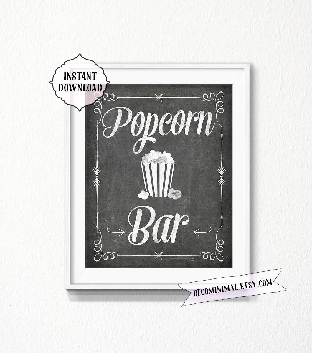 Popcorn bar, popcorn Sign, 11x14, 8x10, chalkboard, INSTANT download ...
