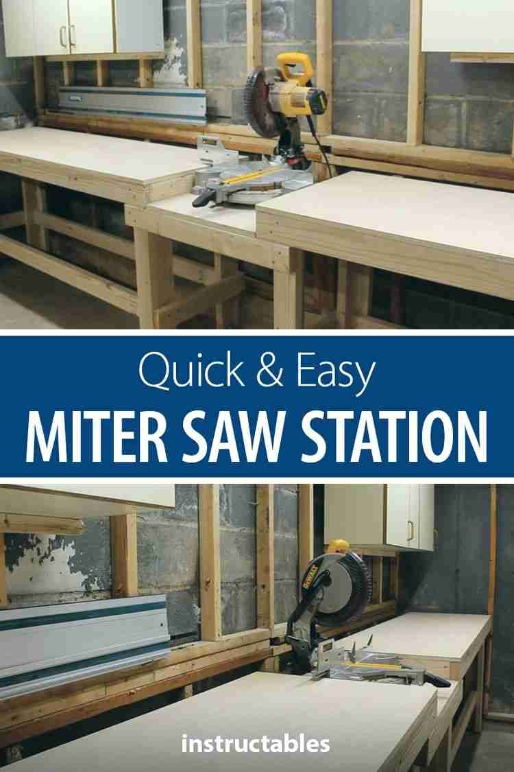 Build an inexpensive miter saw station for your workshop. #Instructables #woodshop #woodworking #woodwork #tools #organization