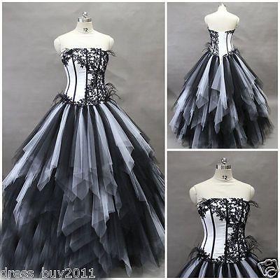 Details zu Gotische Tulle Schwarz /Weiß Hochzeitskleid Brautkleid ...