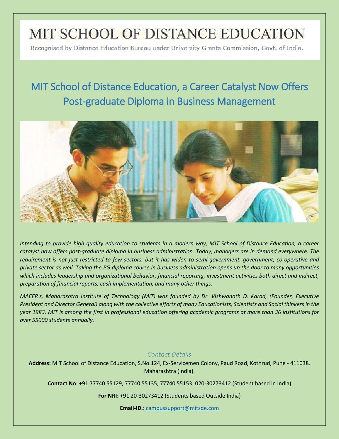 Mit School Of Distance Education Now Offers Post Graduate Diploma
