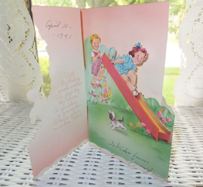 Vintage 1941 Children Sliding Pop Up Die Cut 4th Birthday Greeting