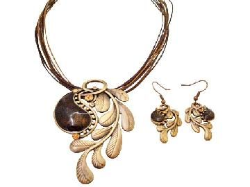 Creative Jewlery In Brass With Brown Stone Embedded Party Wear Jewelry
