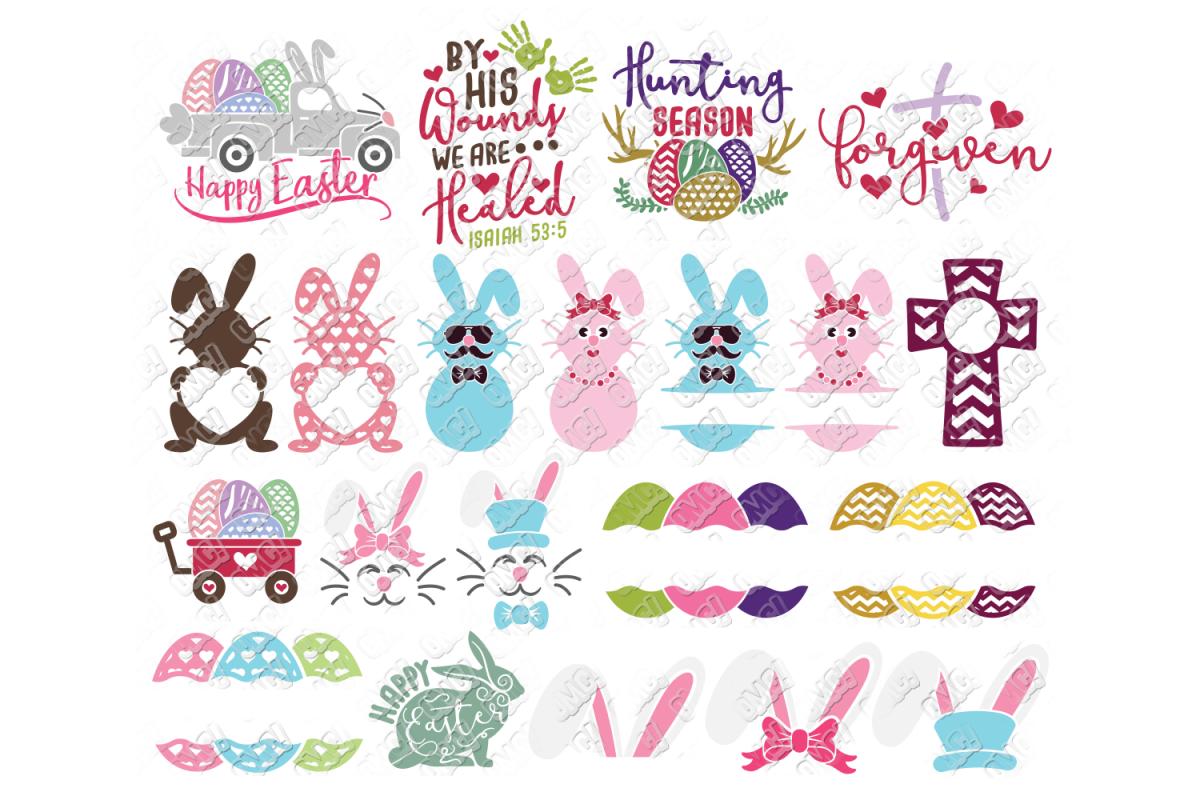 Easter Svg Bundle 2 In Dxf Svg Png Jpg Eps Easter Svg Bunny Svg Easter Design