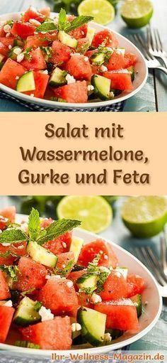 Salat mit Wassermelone, Gurke und Feta - Gesundes Diätrezept zum Abnehmen   - Rezepte -