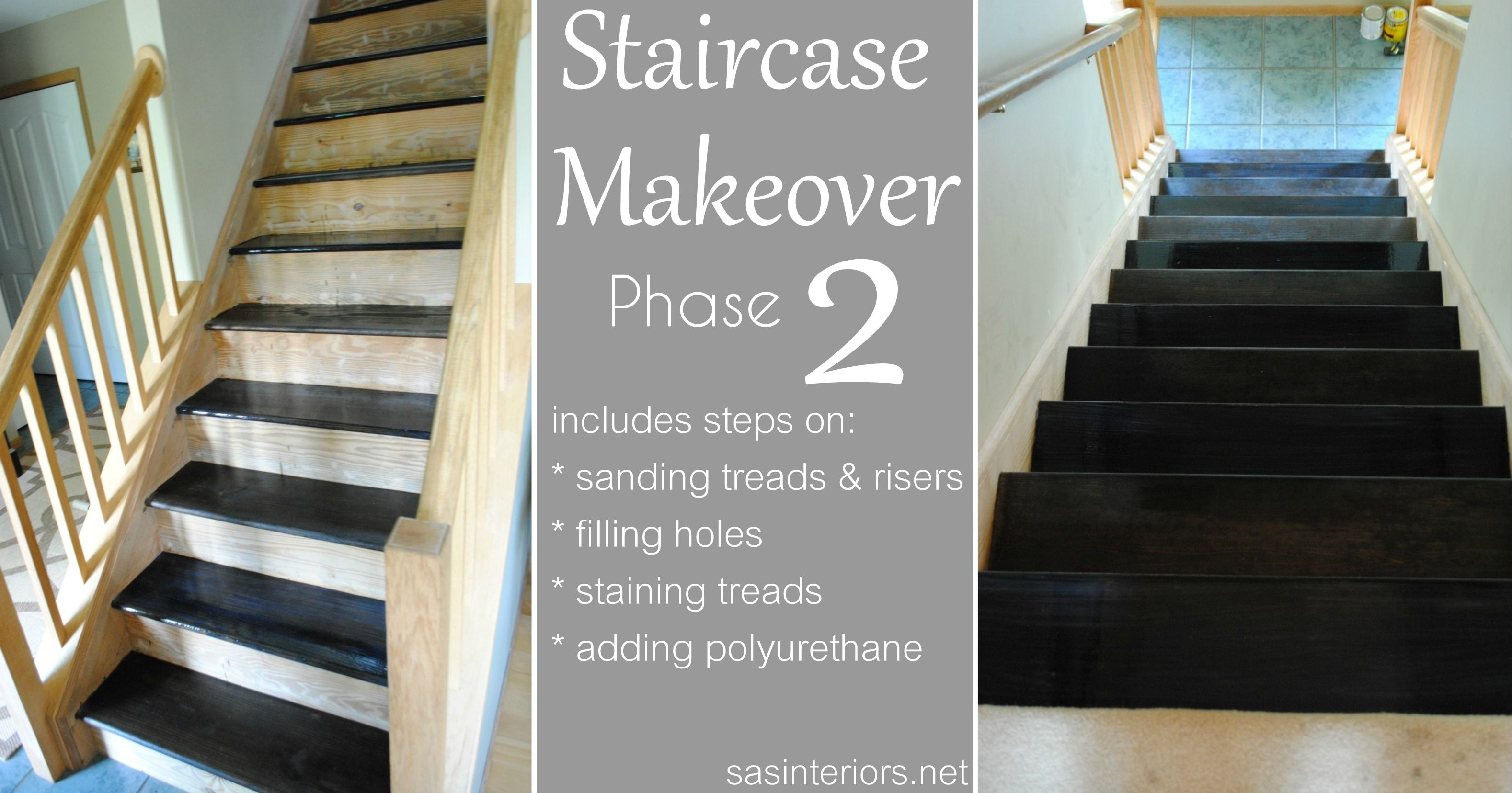 Best Staircase Makeover Filling Holes And Staining Treads 400 x 300