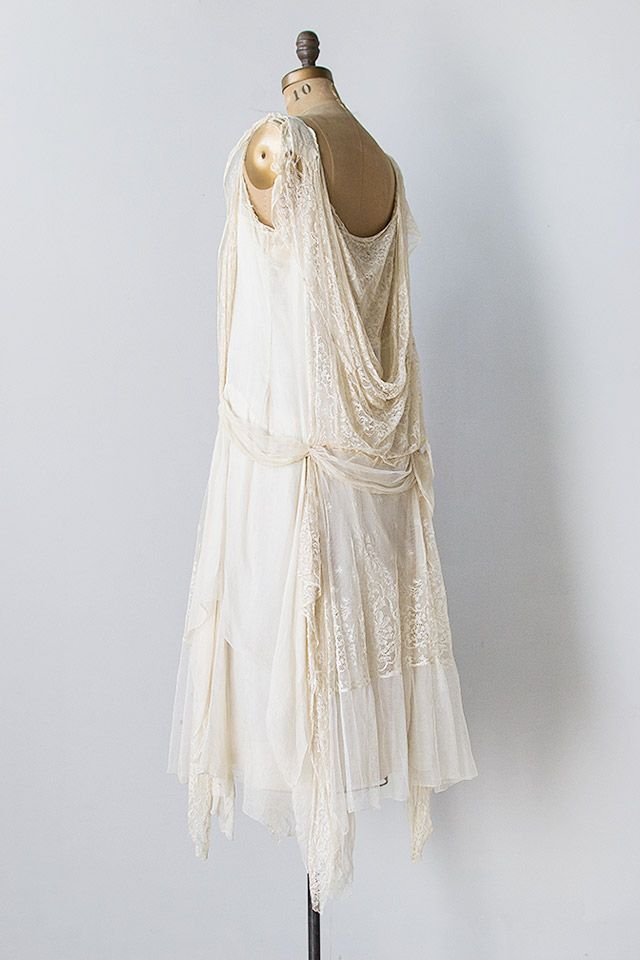 vintage 1920s ivory silk lace chiffon flapper dress - Click Image to ...