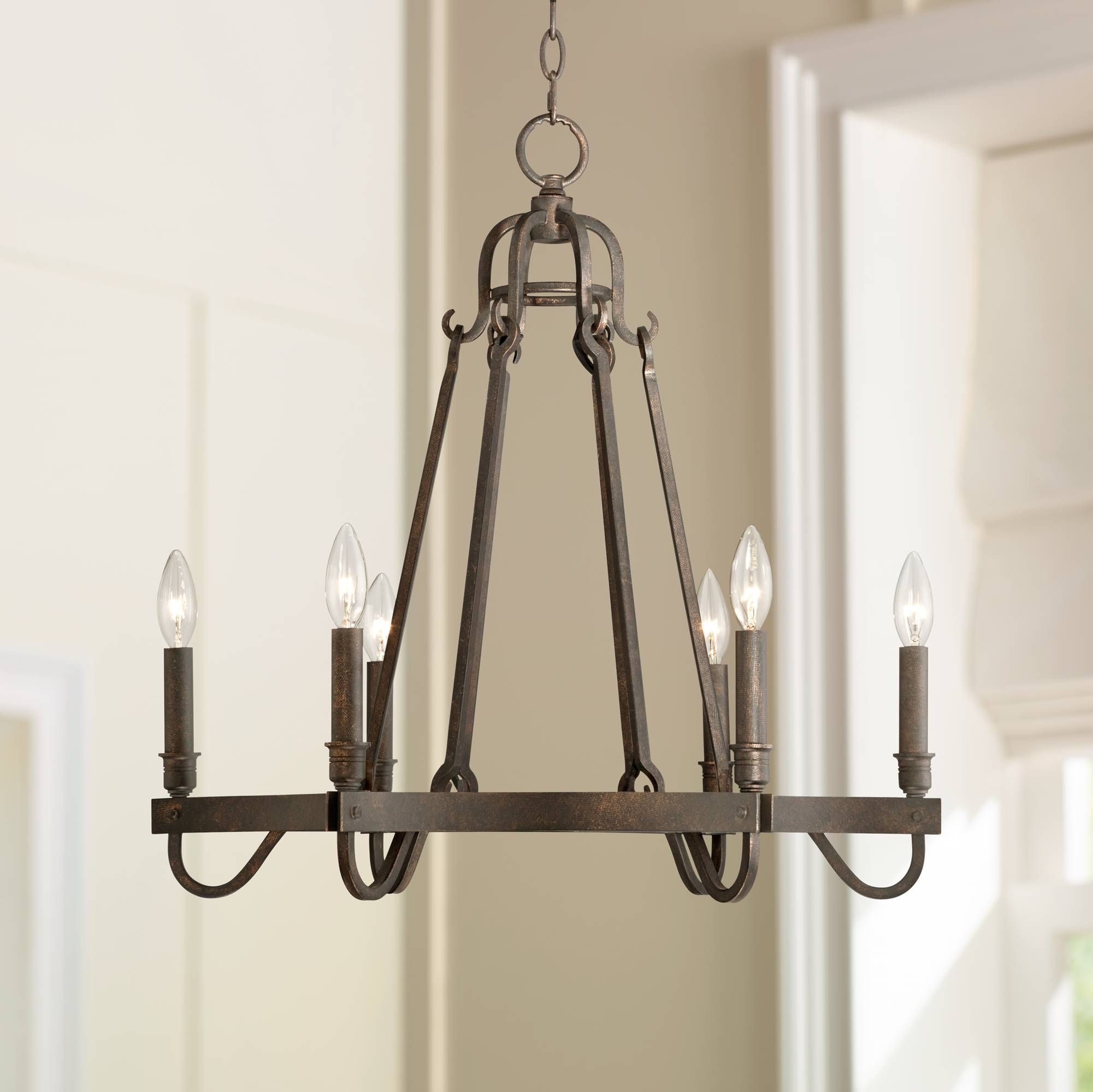 Raymore 23 1 2 Wide Rustic Bronze 6 Light Chandelier 8h743 Lamps Plus