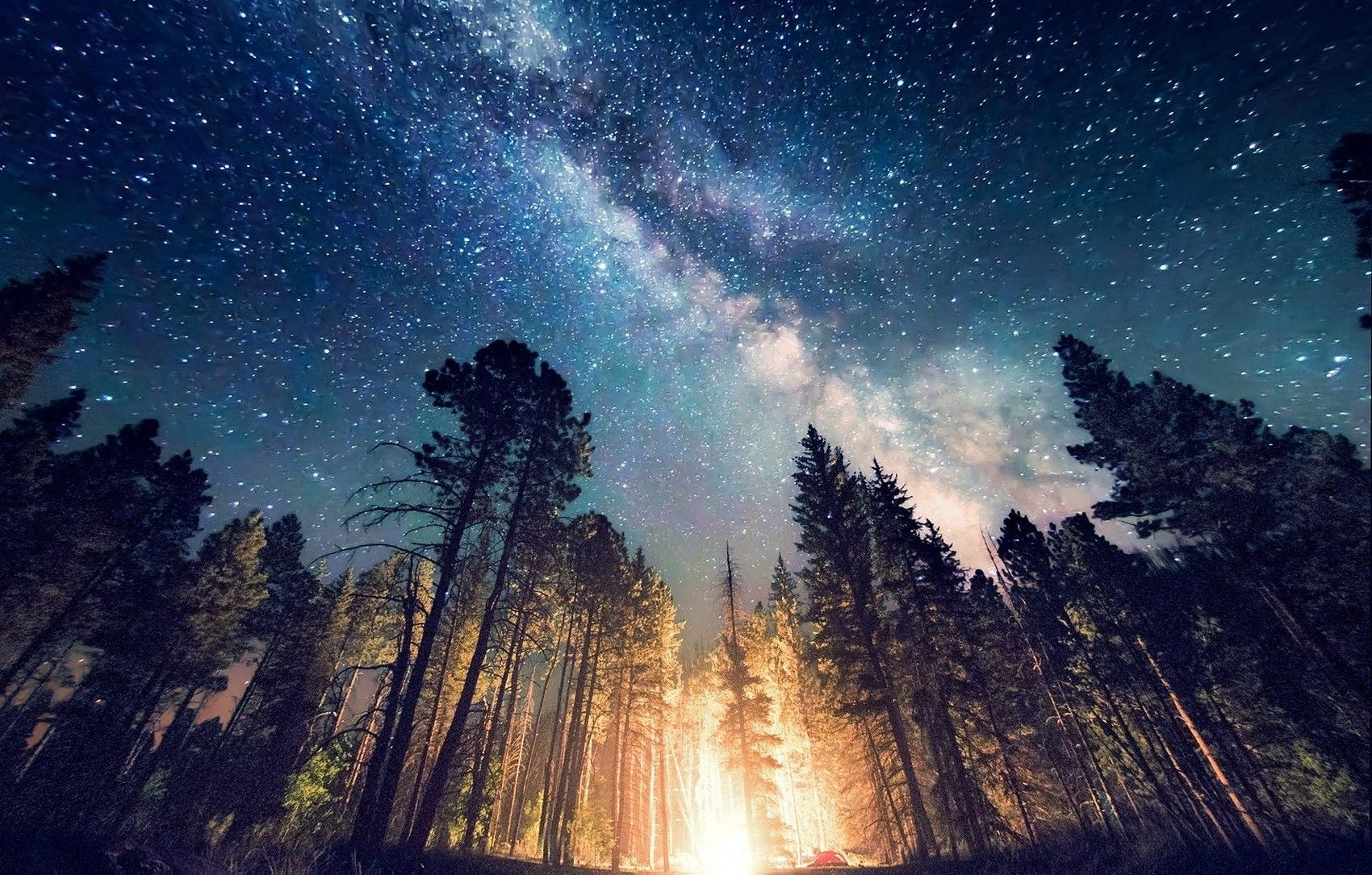 Long Exposure Starry Night Milky Way Galaxy Nature Camping
