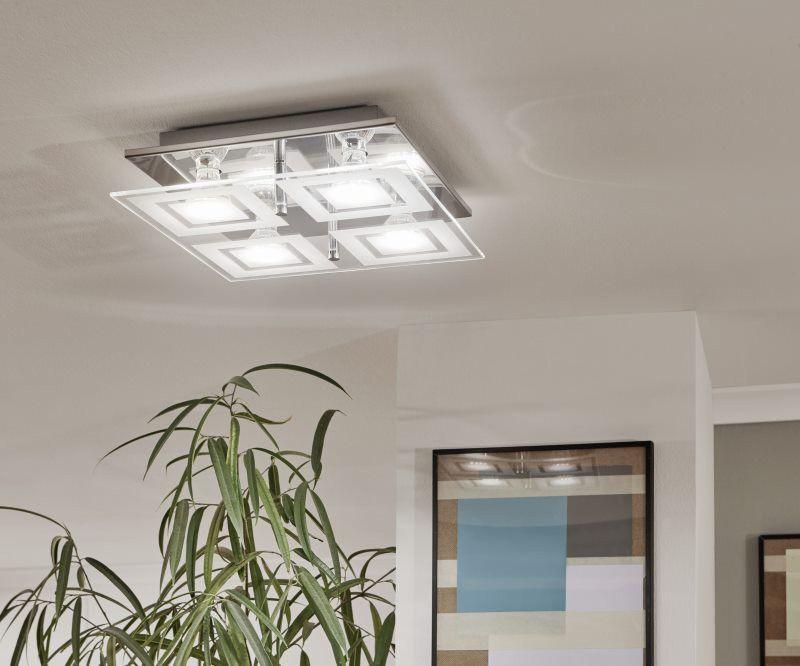 EGLO ALMANA LED Wand \ Deckenleuchte GU10 chrom, satiniert-weiss - wohnzimmer deckenleuchte led
