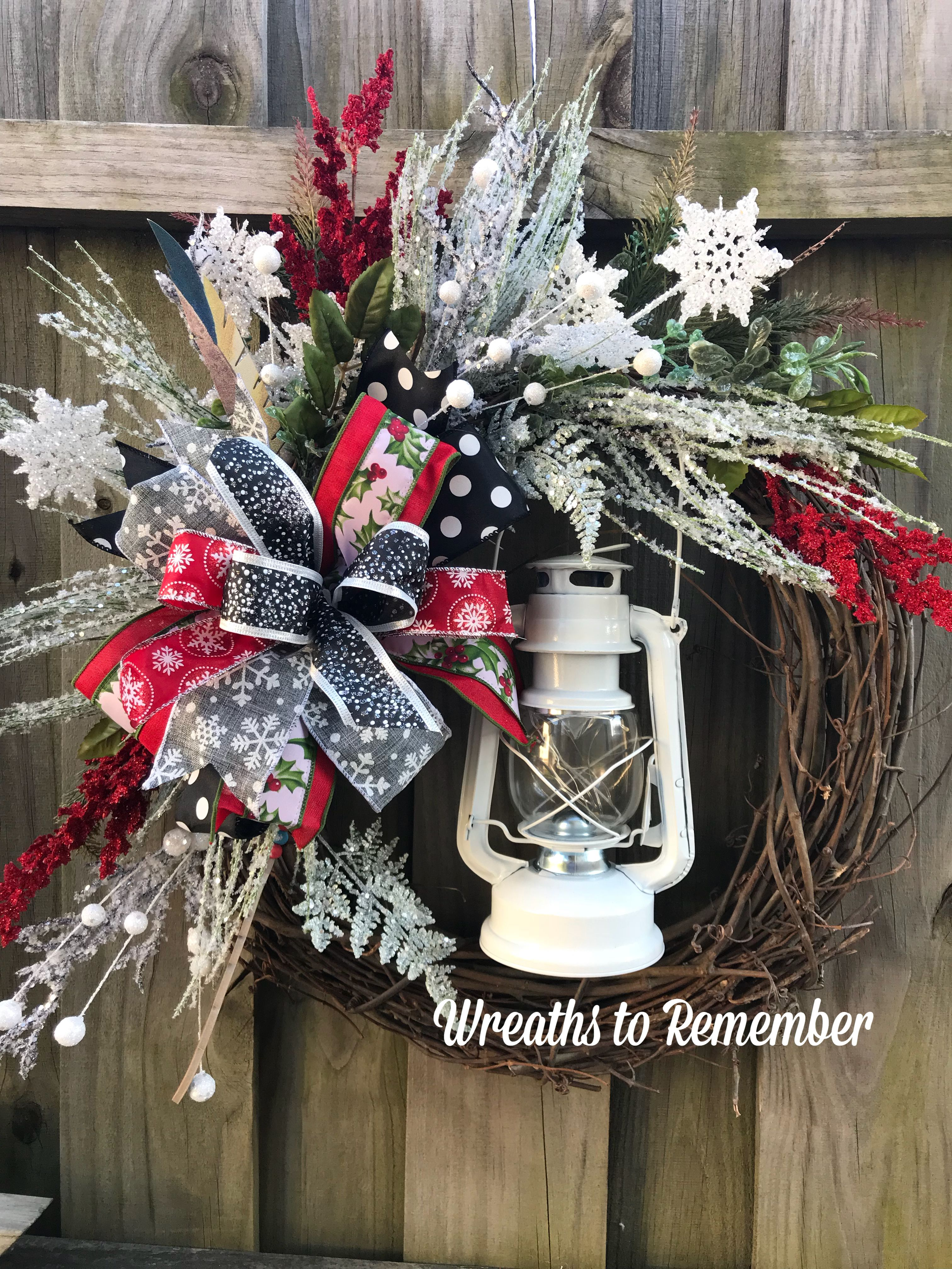 Lantern wreath grapevine winter Wreath icy winter wreath