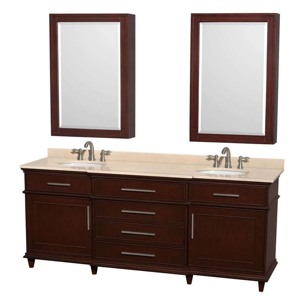 Wyndham Collection Berkeley 80-inch Dark Chestnut Double Vanity ...