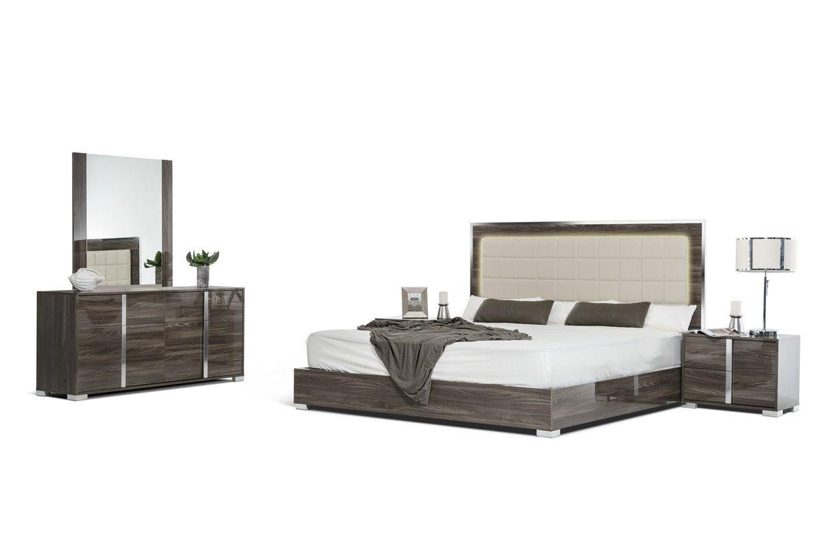 Vig furniture modrest san marino modern grey bedroom set modern