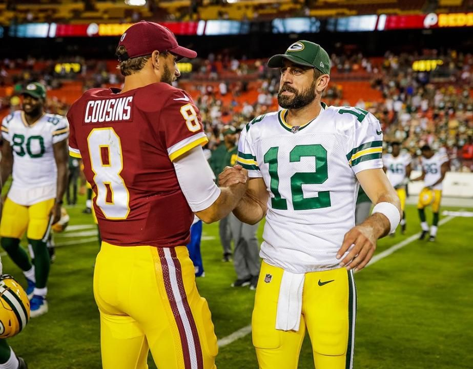 8 19 2017 Kirk Cousins And Aaron Rodgers Aaron Rodgers Kirk Cousins Green Bay Packers