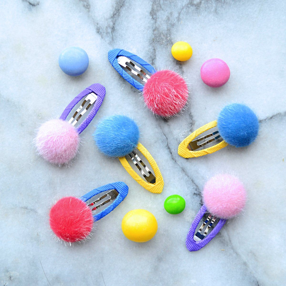 Cotton candy dot clip #kidshairaccessories