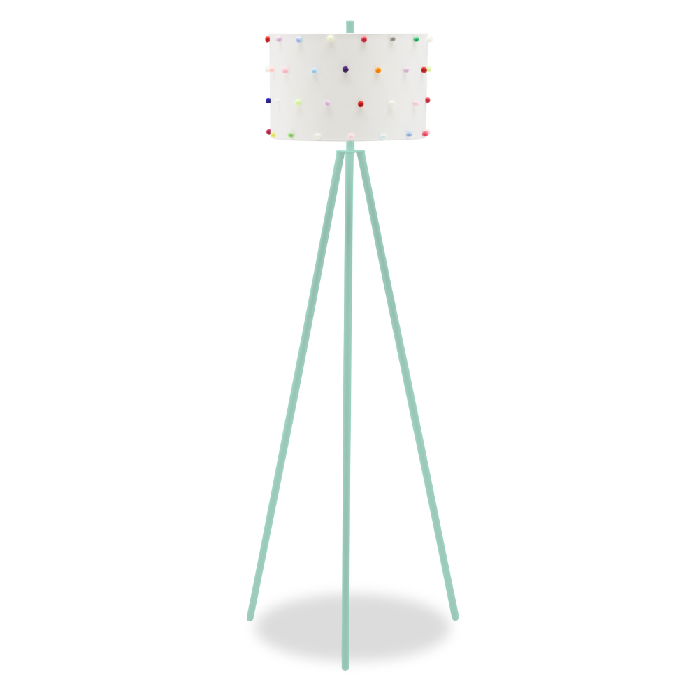 Rainbow Dots Shade with Black Tripod Floor Lamp by Drew