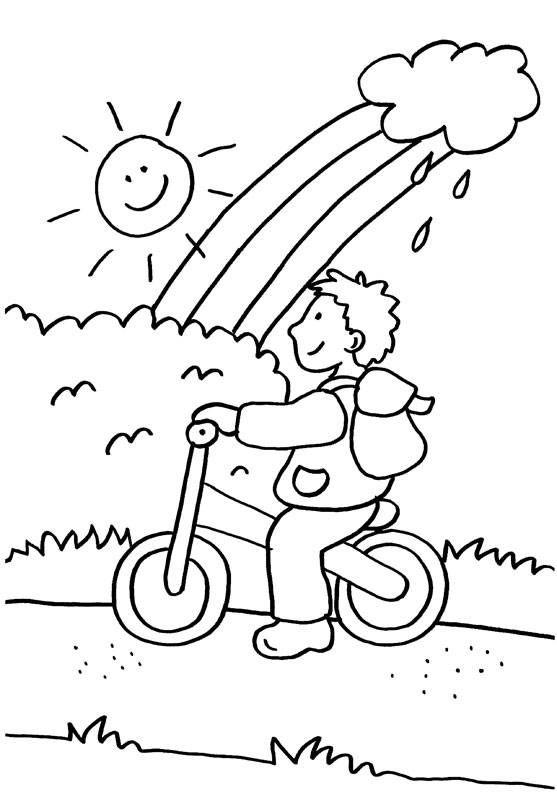 Auf der kostenlosen Malvorlage für Kinder fährt ein kleiner Junge ...