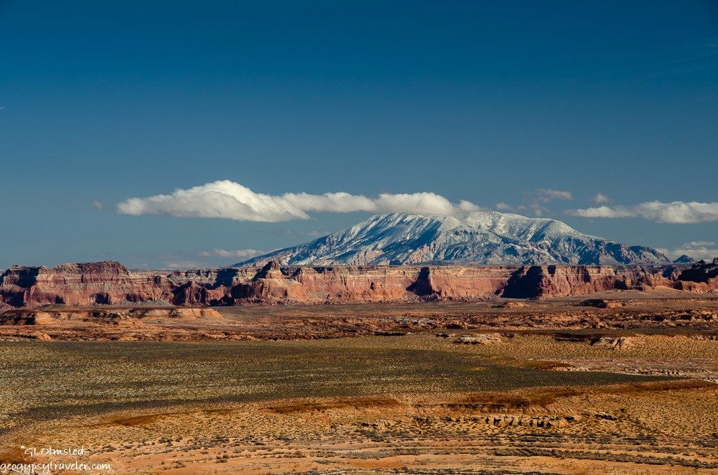 Navajo Mountain wears a dusting of white from the Christmas Eve storm Utah/Arizona.     http://geogypsytraveler.com/2016/12/27/not-dreaming-of-a-white-christmas/