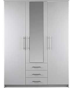 Normandy 3 Door 3 Drawer Large Mirrored Wardrobe - White.