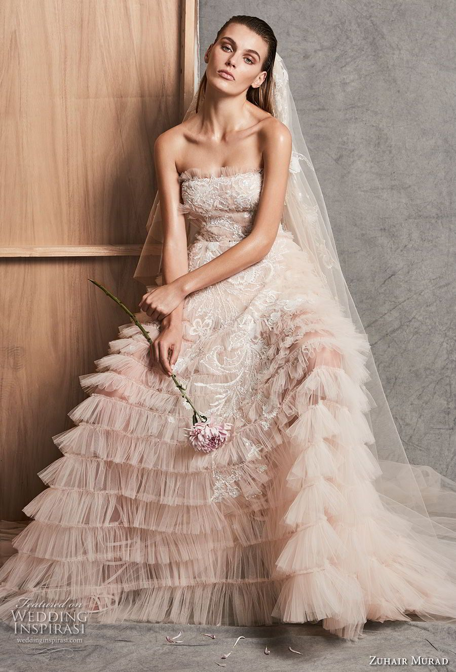 Zuhair murad fall wedding dresses tiered skirts chapel train