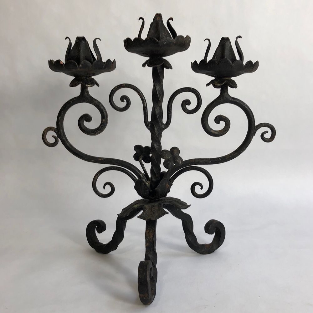 Vintage Old Black Wrought Iron Candelabra Candle Holder 3 Lite