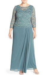 Alex Evenings Lace Bodice Gown (Plus Size)