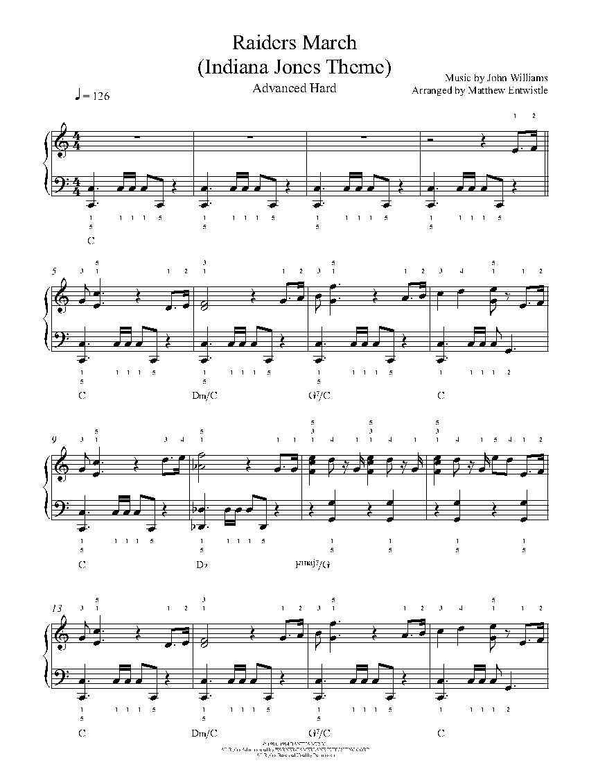 Raiders March By John Williams Piano Sheet Music Advanced Level Piano Sheet Music Sheet Music Piano Sheet