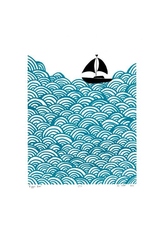 ARTFINDER: Bigger Boat in Teal - Unframed for Wo... by Lu West - Silkscreen print of a lonely little sail boat at sea being overwhelmed by bright graphic waves.   Colour: teal and black on white paper  Each print is sl...
