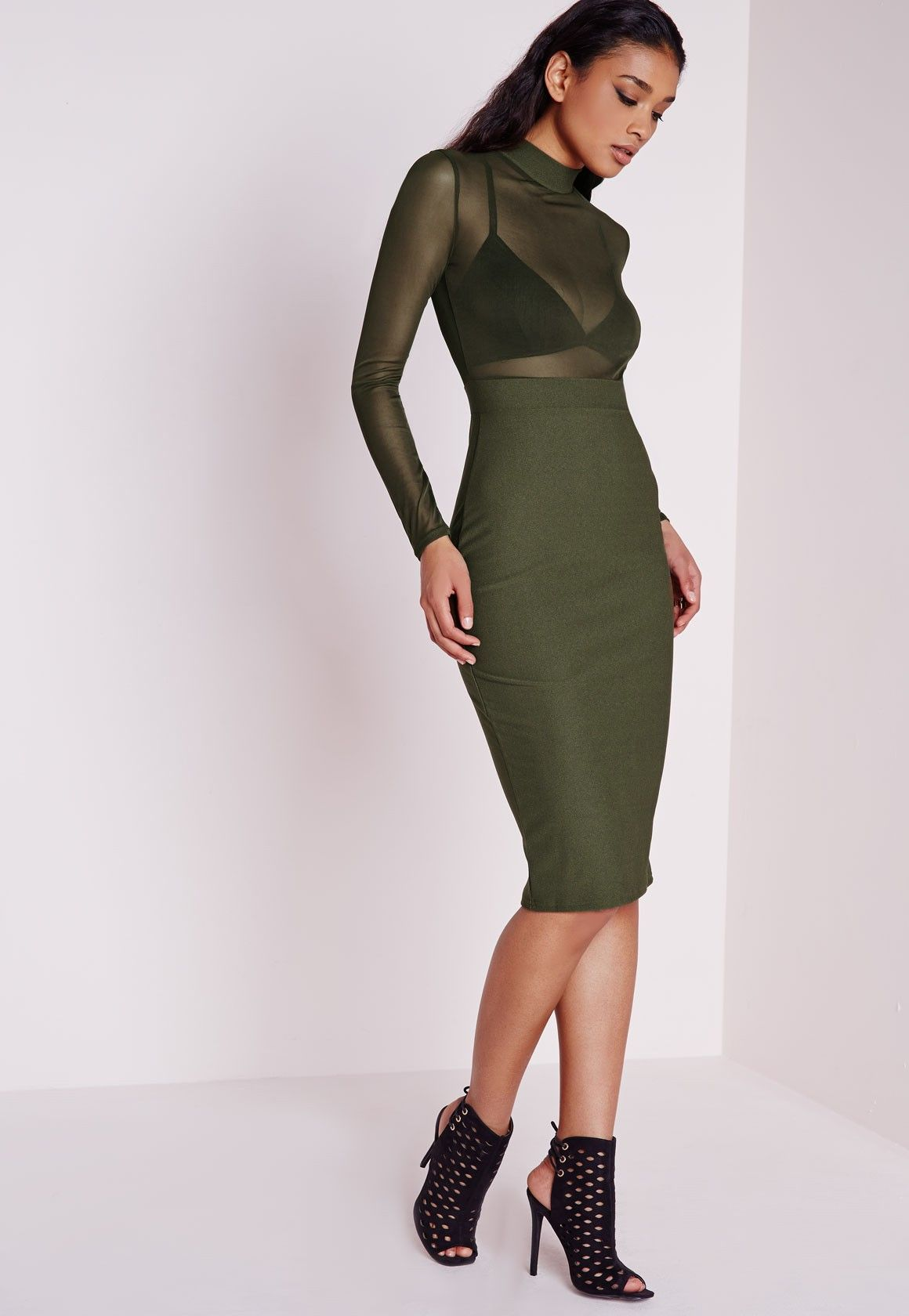 0cb24e9921a6f9 Missguided - Long Sleeve Mesh Top Midi Dress Khaki   Women's Fashion ...
