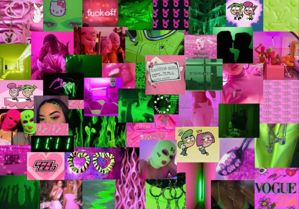 Gemini Neon Green And Neon Pink Aesthetic Laptop Wallpaper Laptop Wallpaper Macbook Wallpaper Pink Aesthetic