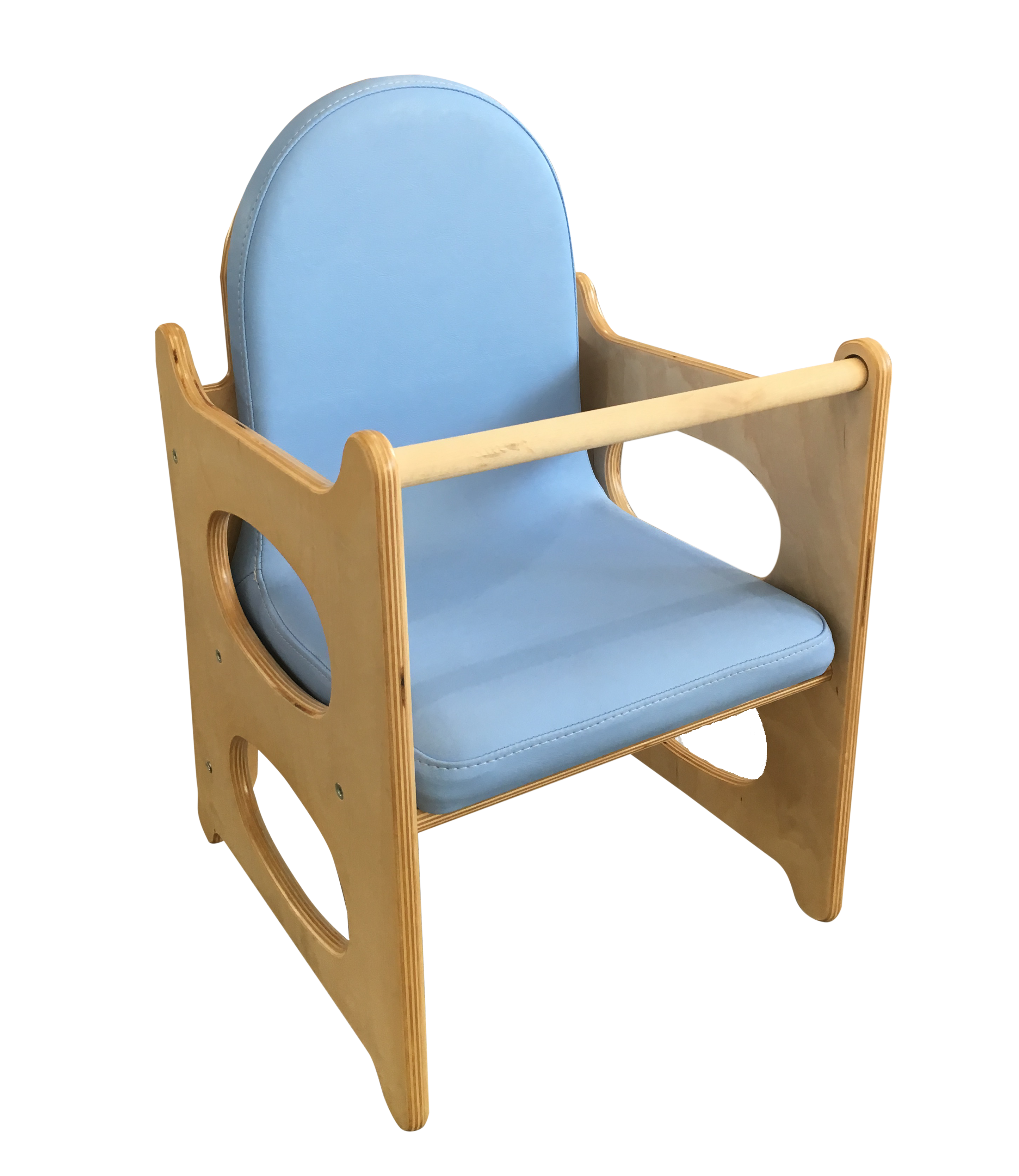 Seggiolone per bambini in legno Con imbottitura lavabile e cinturino di sicurezza