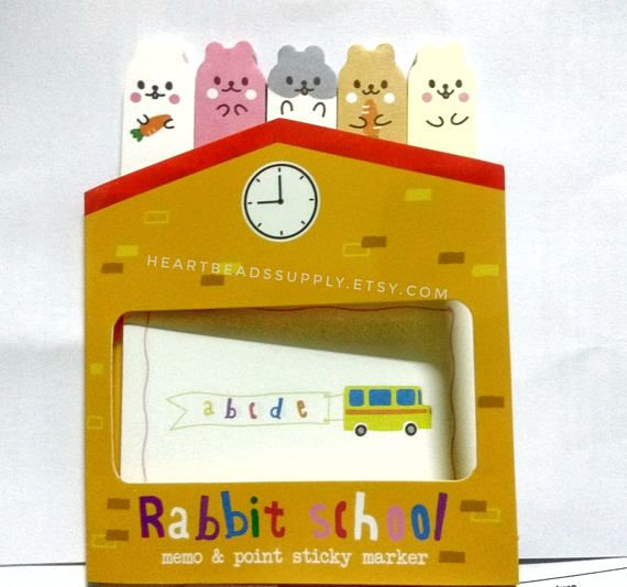 Rabbit School Sticky Notes Post It Cute Office Stationery Index Tab Kawaii Paper Goods Memo Pad Page Maker Id1360718