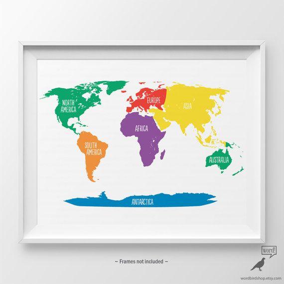 Primary Colors Nursery World Map Kids Wall Art By Wordbirdshop