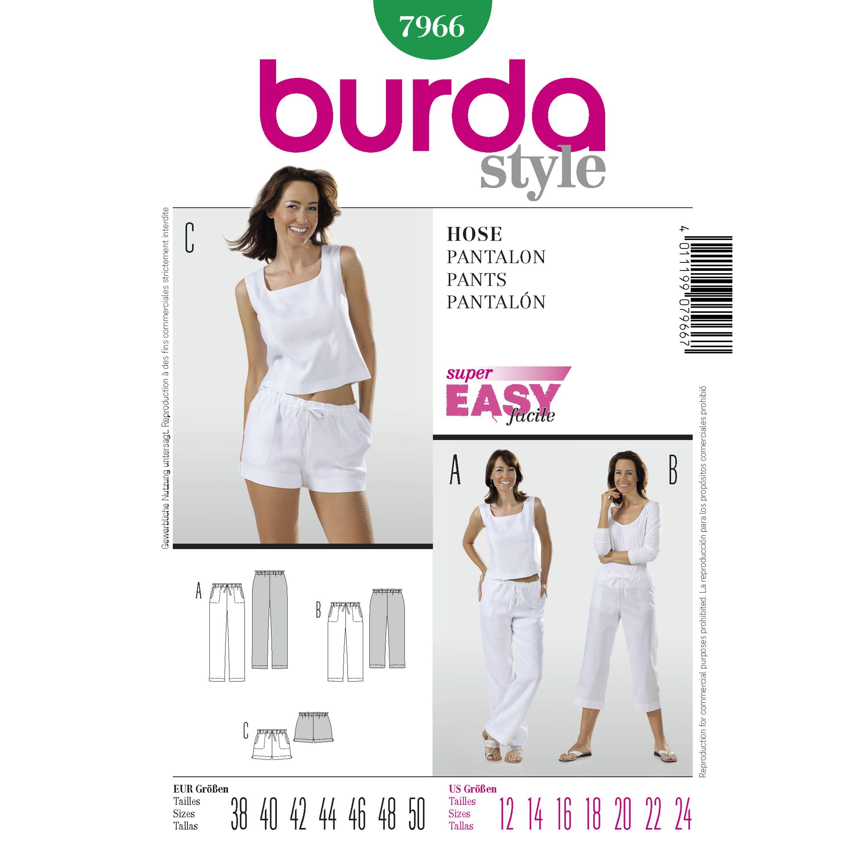 Burda... Burda Ladies Plus Size Easy Sewing Pattern 6859 Elastic Waist Trousers