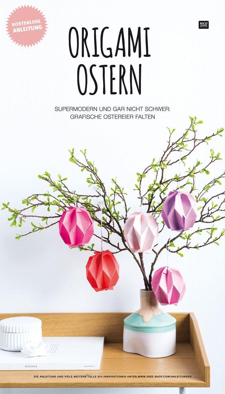 Wie findet ihr unsere Origami Ostereier?! :) Super modern und gar nicht schwer! In unserer kostenlosen Schritt-für-Schritt Anleitung zeigen wir euch wie ihr die grafischen Ostereier ganz einfach nachfalten könnt. #diy #ostern #ostereier #osterdeko #dekoration #deko #basteln – Eva Biberger - Tagliches Pin Blog #origamianleitungen