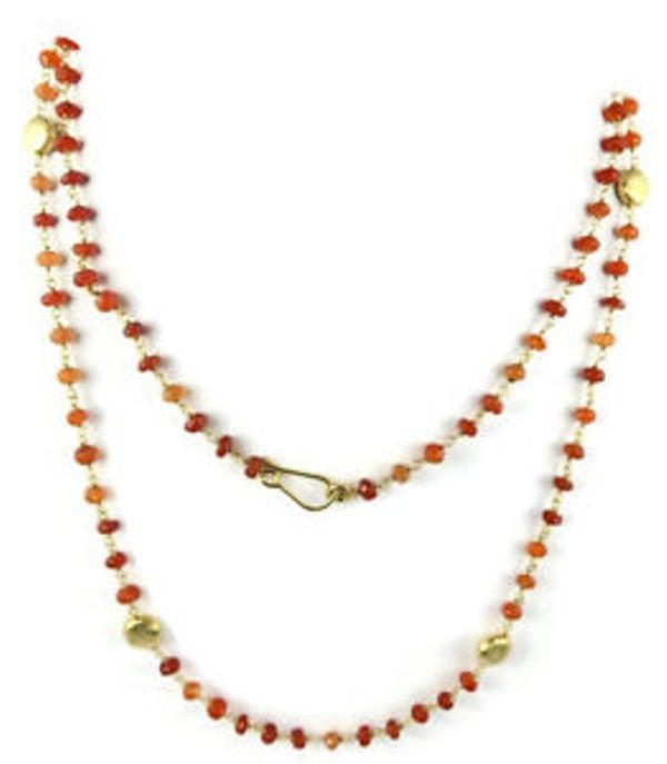 Carnelian Beaded chain Brushed Puffed Charm 24k Gold Plated 3.5-4.5mm 18Inch