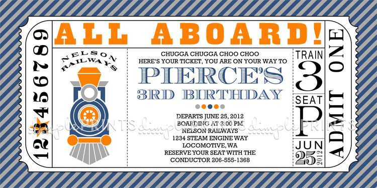 Train Ticket Printable Invitation Birthday party ideas - ticket invitation template