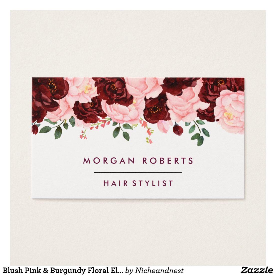 Blush Pink & Burgundy Floral Elegant Flower Business Card | Elegant ...