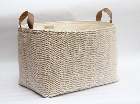 Nice Fabric Storage Basket Herringbone Woven Cotton Leather Handles   Cream And  Taupe Beige   Rustic Decor