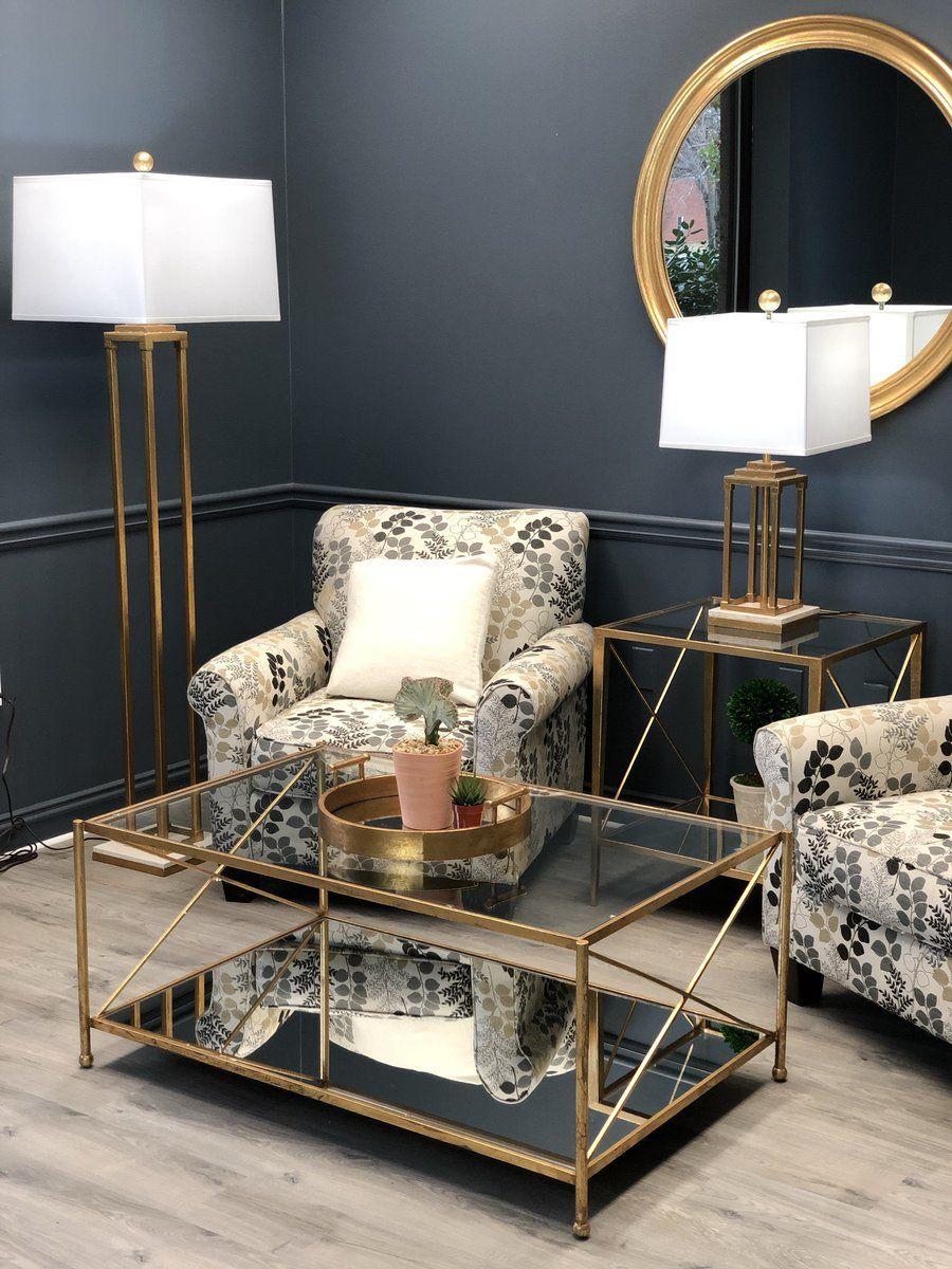 Iris Gold Leaf 2 Shelves Coffee Table Living Room Coffee Table Coffee Table Glass Table Living Room [ 1200 x 900 Pixel ]