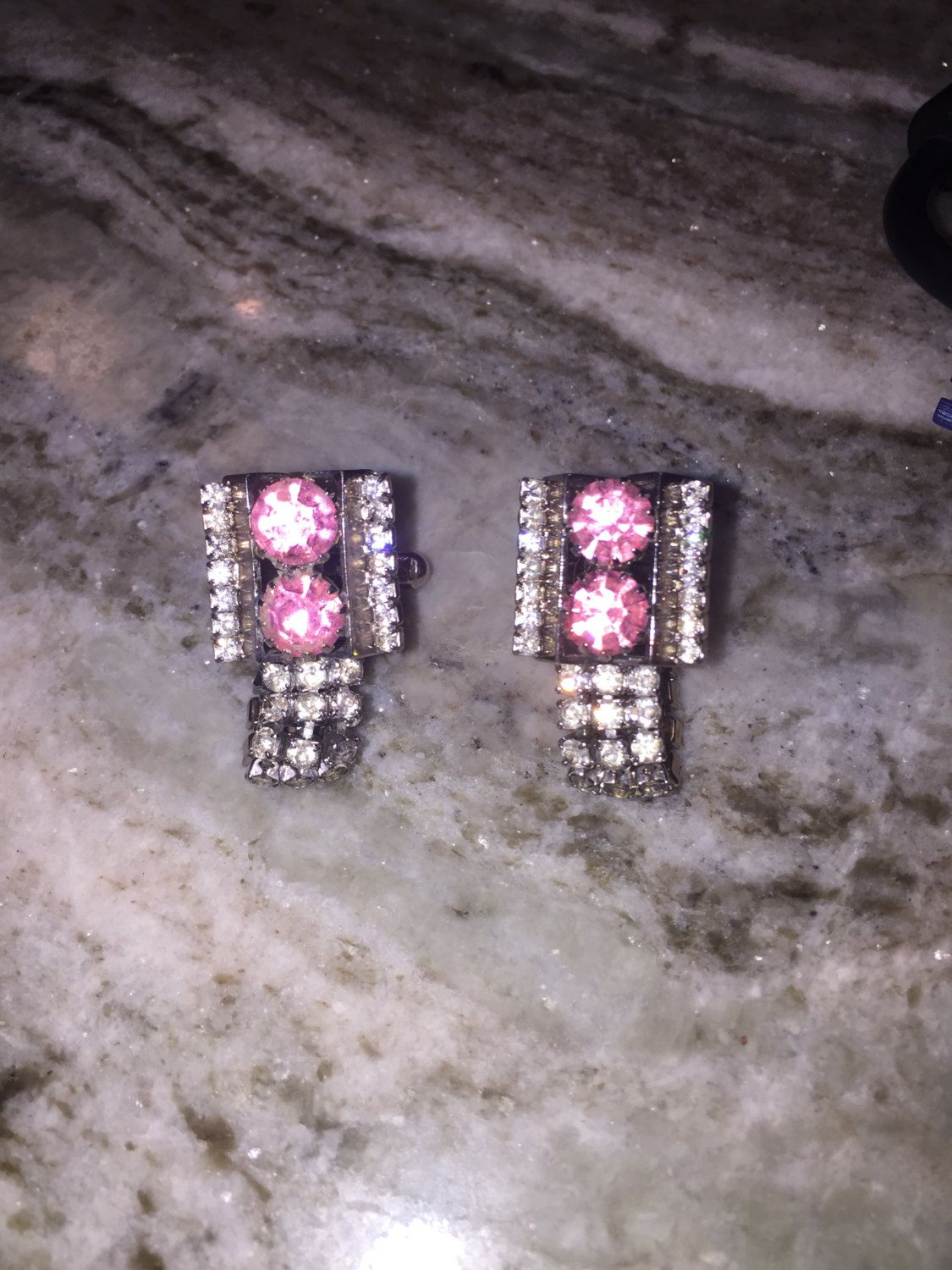 SOLD $42.00 Vtg Wrap Around Rhinestone & Pink Glass CUFFLINKS-Fabulous by feathersoup on Etsy