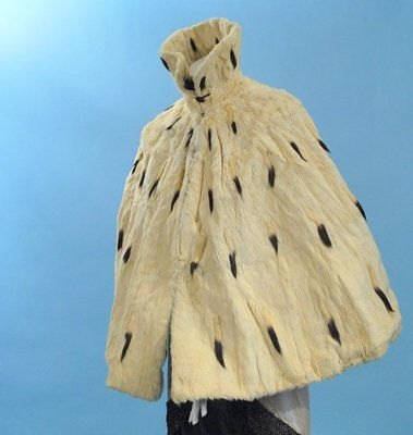 """""""Victorian Lovely Ermine Full Cape High Collar Gold Satin Lining"""""""