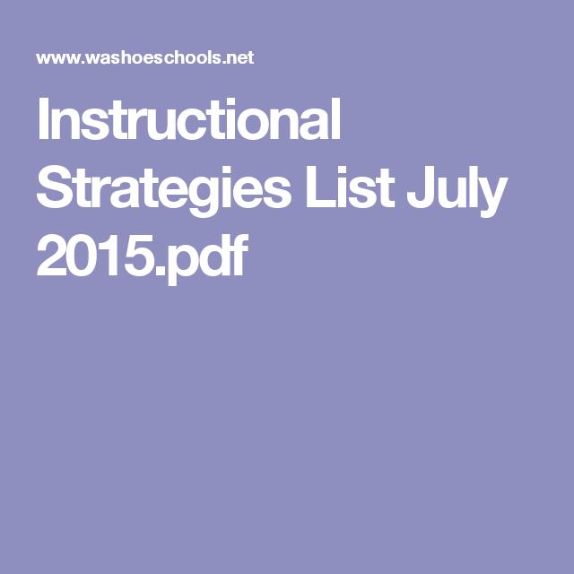 Instructional Strategies List July 2015pdf Instructional