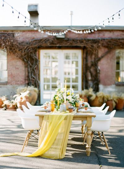 Yellow and pretty: http://www.stylemepretty.com/little-black-book-blog/2015/05/06/colorfully-organic-glamper-wedding-inspiration/   Photography: Carrie King - http://www.carriekingphoto.com/