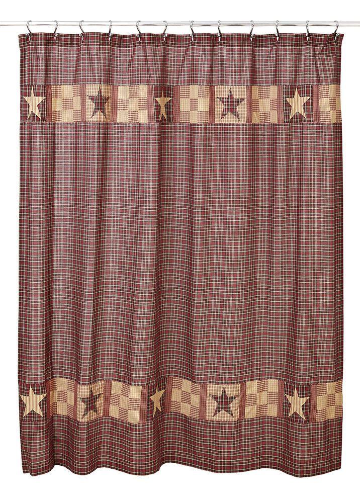 Burgundy Tan Plaid Shower Curtain Olivias Heartland Bradford Star Country Bath OliviasHeartland RusticPrimitive