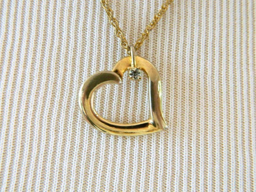 "Vintage Heart Rhinestone Pendant Valentine Sweetheart Necklace Gold Tone 20""…"